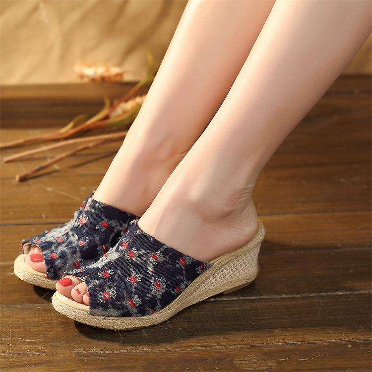 f8ab394f48 2019 vintage donna sandali casual lino tela sandali con zeppa estate  cinturino alla caviglia con tacco med piattaforma pompe espadrillas scarpe