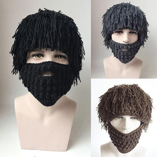 2019 new fashion Men's Women's Funny Prop Creative Fake Beard Styling Wig Hat Knitting Ski Cap