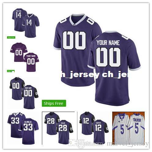 the best attitude f79b6 d3c7d Cheap TCU Horned Frogs #5 LADAINIAN TOMLINSON #12 Foster sawyer Football  Jersey Sewing custom any number name football jerseys XS-5XL