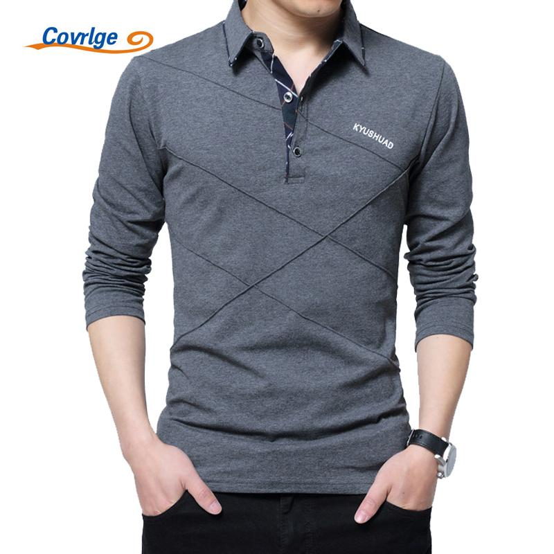 Covrlge Men Spring Mens Long Sleeve Polo Shirts Plus Size 3xl 4xl 5xl Brand Male Poles Solid Tee Shirt Mtp039 Q190525