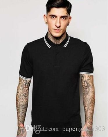 Mode Feuille Imprimé Hommes Fred Polo à rayures col Slim Fit Hauts Incliné Casual Male classique Londres Brit T Perry solide Polos T-shirts