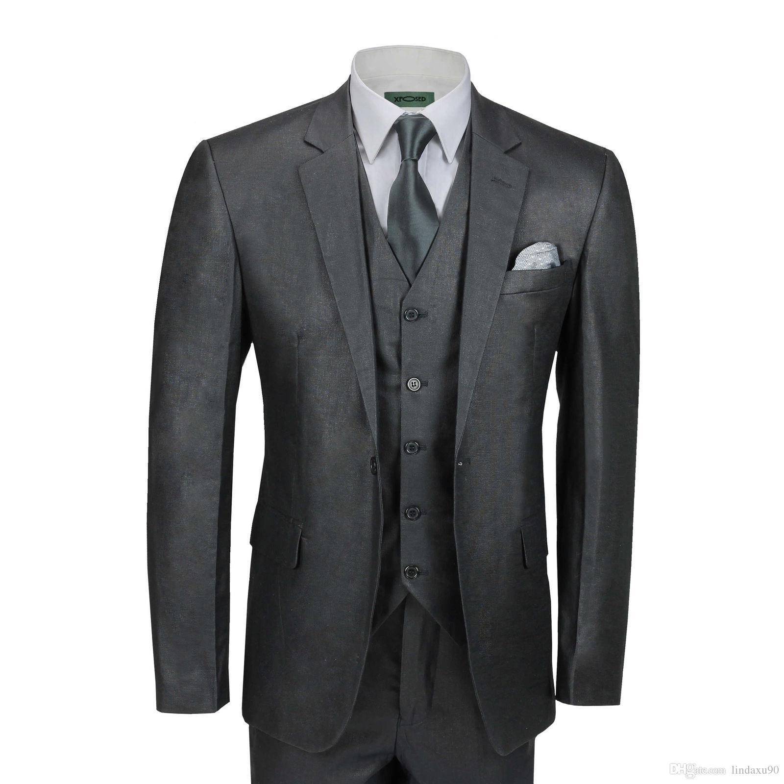a5792501aeb7 Mens 3 Piece Linen Cotton Suit Black Retro Tailored Fit Jacket Waistcoat  Trouser Fitted Best Man Suits(Jacket+Pants+vest) Hot Sale