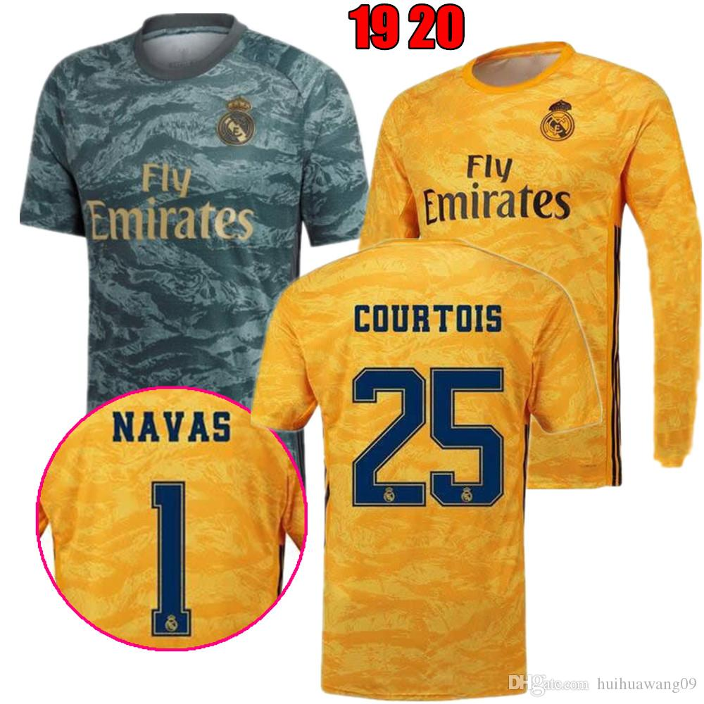 b73b33ad 2019 2020 Camisetas Largas De Portero Del Real Madrid 19 20 Camiseta Keylor  Navas Camiseta De Futbol 25 Thibaut Courtois Camo Green Maillot De Foot Por  ...