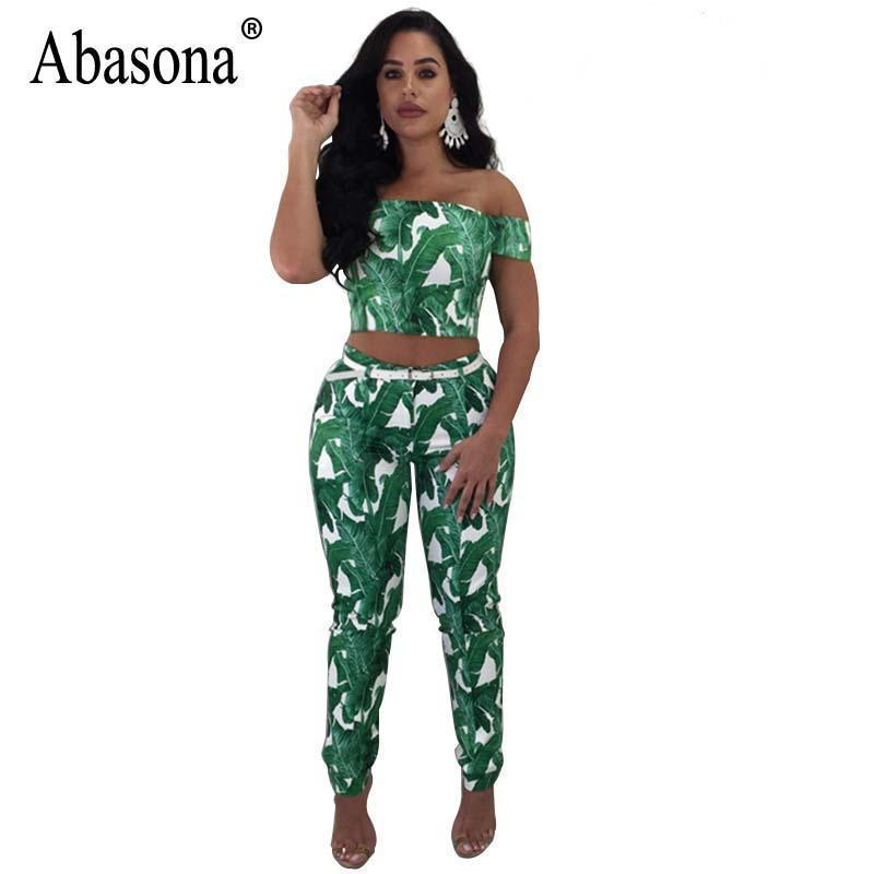fc0845000511 Abasona Two Pieces Set Printed Bohemian Bodycon Jumpsuits Sexy Off Shoulder  Short Sleeve Jumpsuit Summer Casual Overalls Female Online with   45.31 Piece on ...