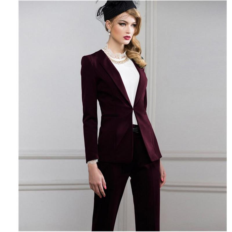 7e2fa19f8a6 Wine red Women Business Suits Elegant Jacket+Pants Blazer Female Office  Uniform 2 Pieces Suits Ladies Winter Formal