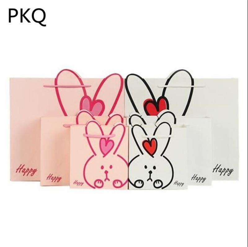 20pcs Cute Rabbit Gift Bag White Pink Kraft Paper Bag With Handles Birthday Party Decorations Supplies Paper Bags For Gifts