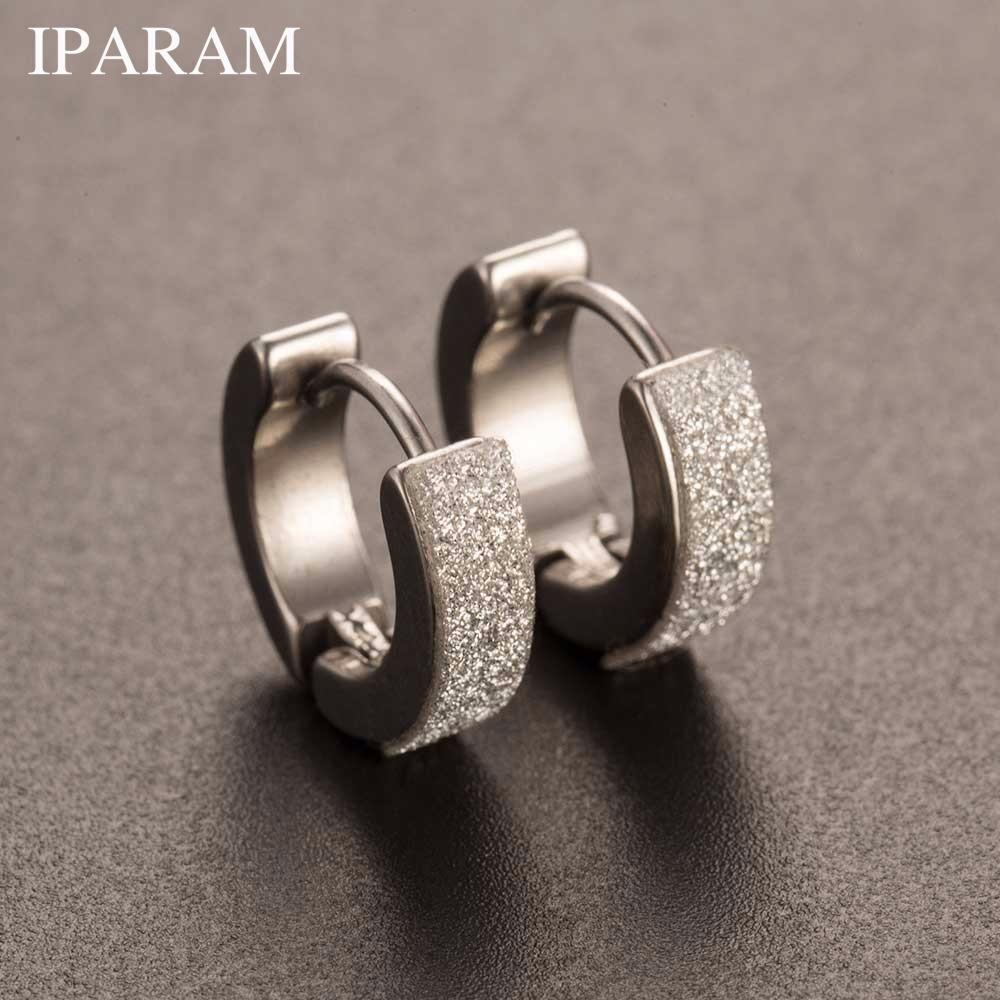 IPARAM Chic Cool Punk Men's Stainless Steel Hoop Piercing Round crystal Earring Ear Stud men woman jewelry