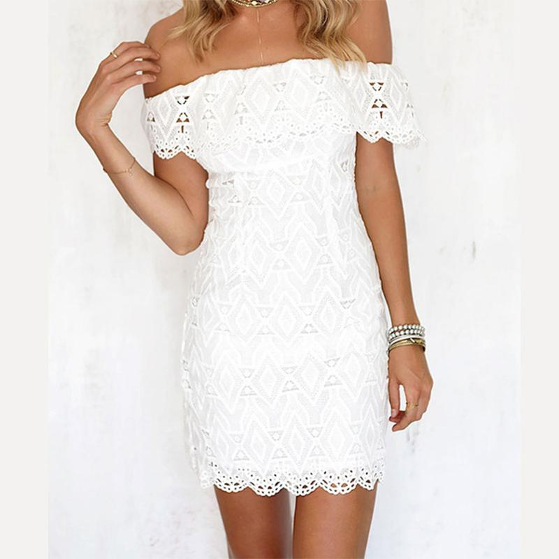 c8791f9a19d Slash Neck Off Shoulder Lace Slim Mini Dress Women Sexy Strapless Elegant  White Bodycon Dress Ladies Fashion Party Summer Long Evening Dress Red  Evening ...
