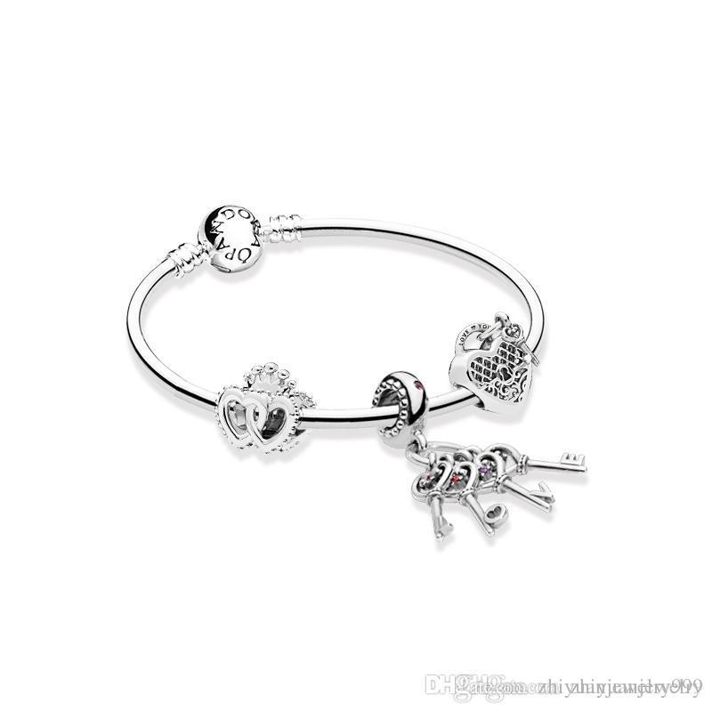 0319d04a37 Compre Corazones Unidos Reales Llaves De Amor Pulseras Colgantes De Plata De  Ley 925 Pulseras Paquete Original Completo A $142.14 Del Zhiyuanjewelry999  ...