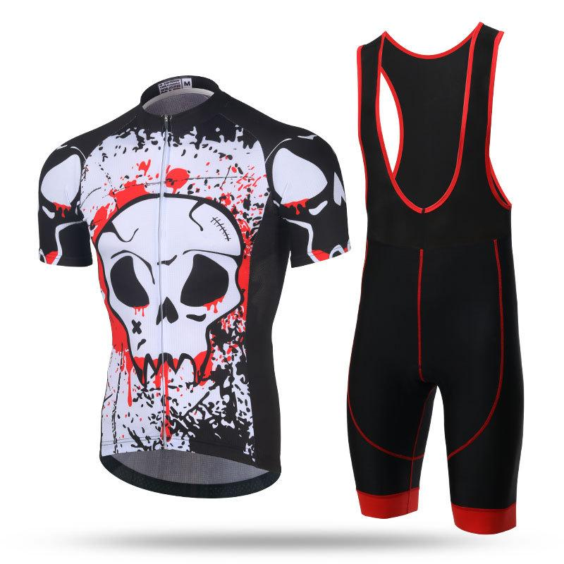 XINTOWN Print Pro Bike Jersey Bib Shorts Sets Men Mtb Bicycle Clothing Suit  Skull Gray Summer Male Ropa Ciclismo Cycling Shirts Baggy Cycling Shorts  Cycle ... 863ffc8fb