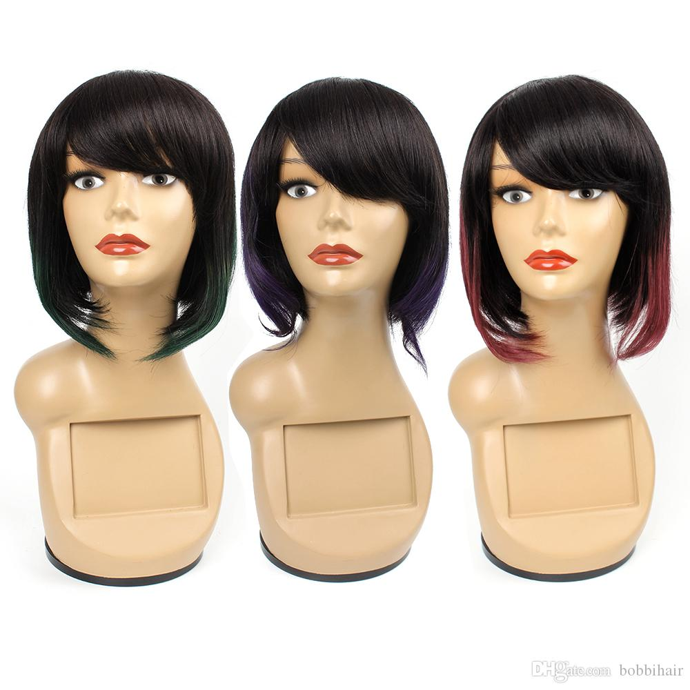 Ombre human hair wigs For Black Women Short Bob Style 10 Ich Two Tone #2/Green Brazilian Straight Hair Remy Human Hair Wigs