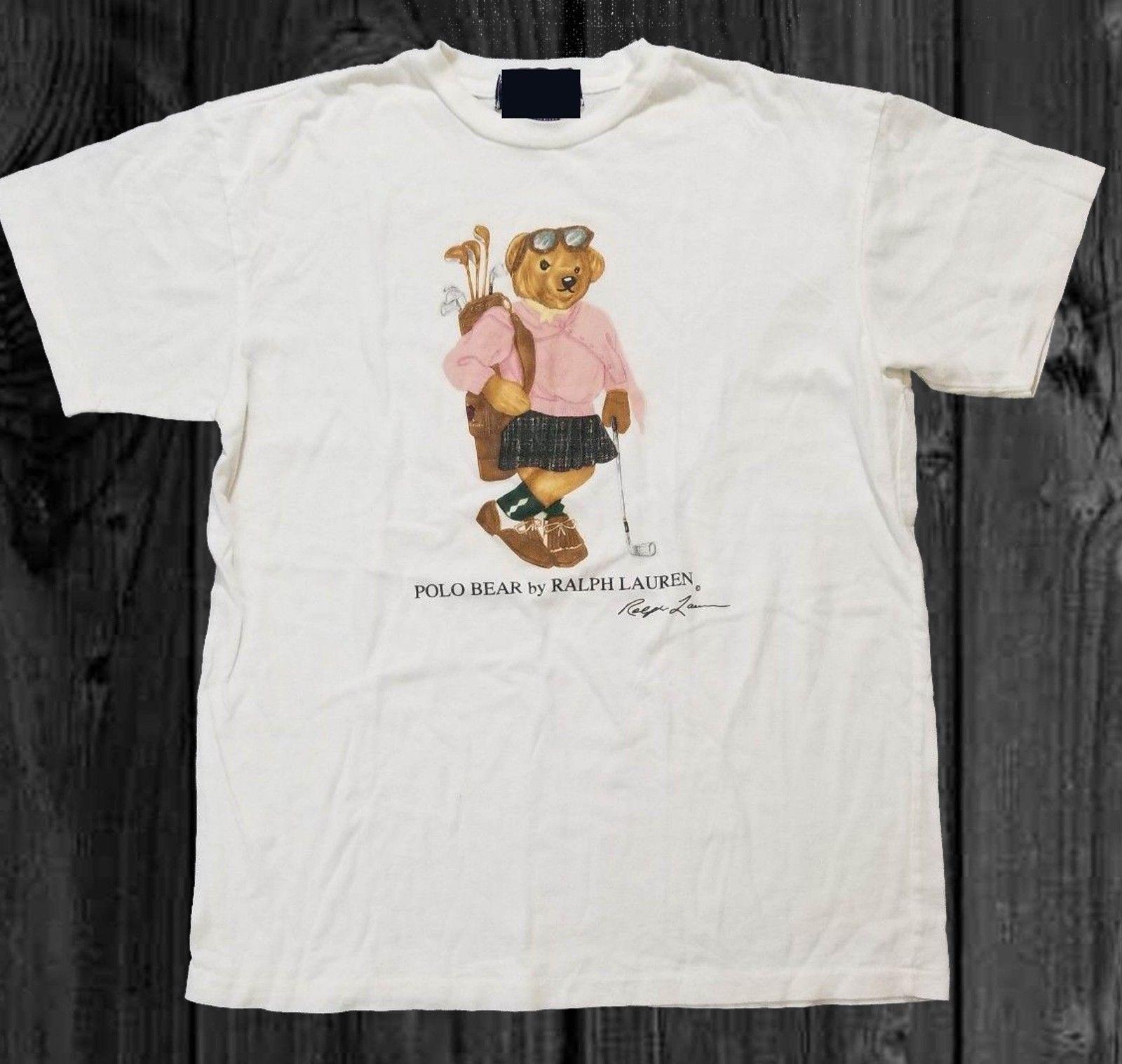 Vintage Polo Bear Womens Golf T Shirt Size Reprint Rare Short Sleeve