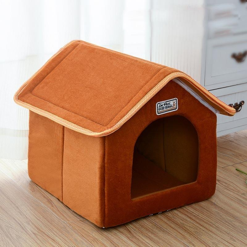 Pet House Foldable Bed With Mat Soft Winter Leopard Dog Puppy Sofa Cushion House Kennel Nest Dog Cat Bed For Small Medium Dogs D19011201