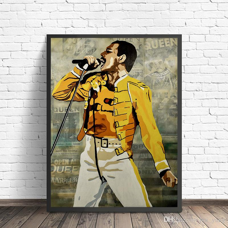 freddie mercury poster queen band hd canvas prints wall art painting