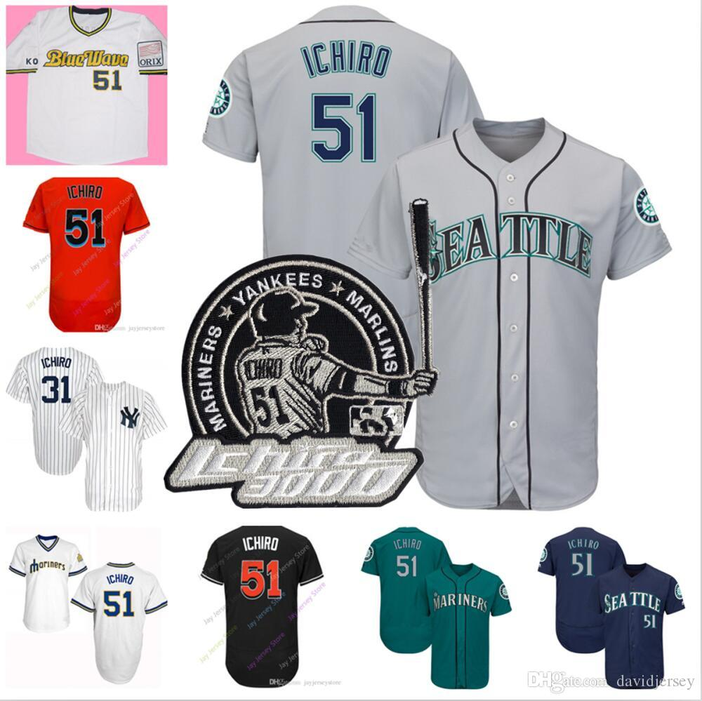 super cute 67781 12a6d 2019 Ichiro Suzuki Jersey retirement Miami New York Seattle Blue Wave  Mariners Marlins Yankees Home Away All Stitched