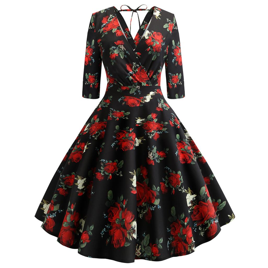 Feitong Charming Women Polyester Dress Elegant Short Sleeve Fashion Print  Vintage Flare Dress Dresses Woman 2019 Party Womens Party Dress Evening  Cocktail ... aa08c44b2d91