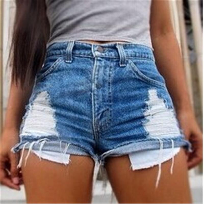Moda Kadınlar Yaz Yüksek Waisted Denim Kumaş Katı Kot Plaj Pantolon Seksi Süper Sıcak Casual Kısa Şort Kısaca Custume Ripped