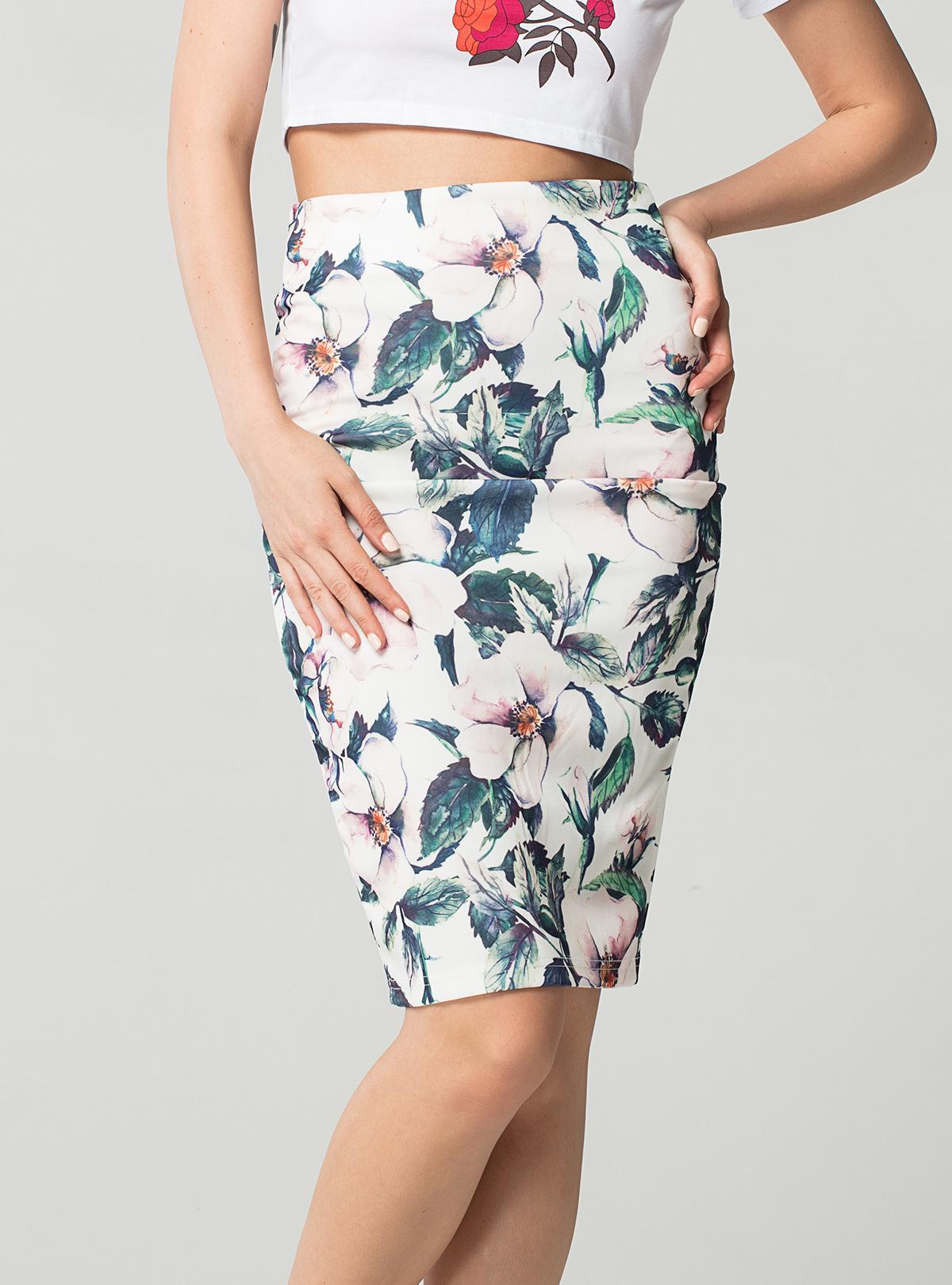 46e024c79 Moda Primavera Verano Estilo Falda Lápiz de Las Mujeres de Cintura Alta  Faldas Verdes Vintage Elegante Bodycon Estampado Floral Falda Midi Ficusrong