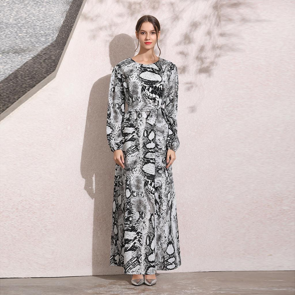 6e13da6b25b60 jilbabs Muslim abayas dress for Women dubai Islam Clothing Printing  Polyester O-Neck summer kaftans Long Maxi Arab Dress F300415