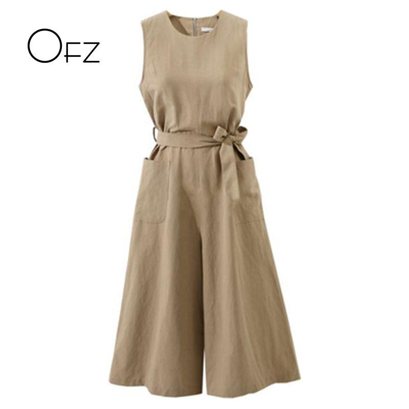 New 2019 Summer European Style Women Jumpsuits Loose Sleeveless Tie Bow Female Rompers Vintage Cotton Linen Plus Size Jumpsuit Y19060501