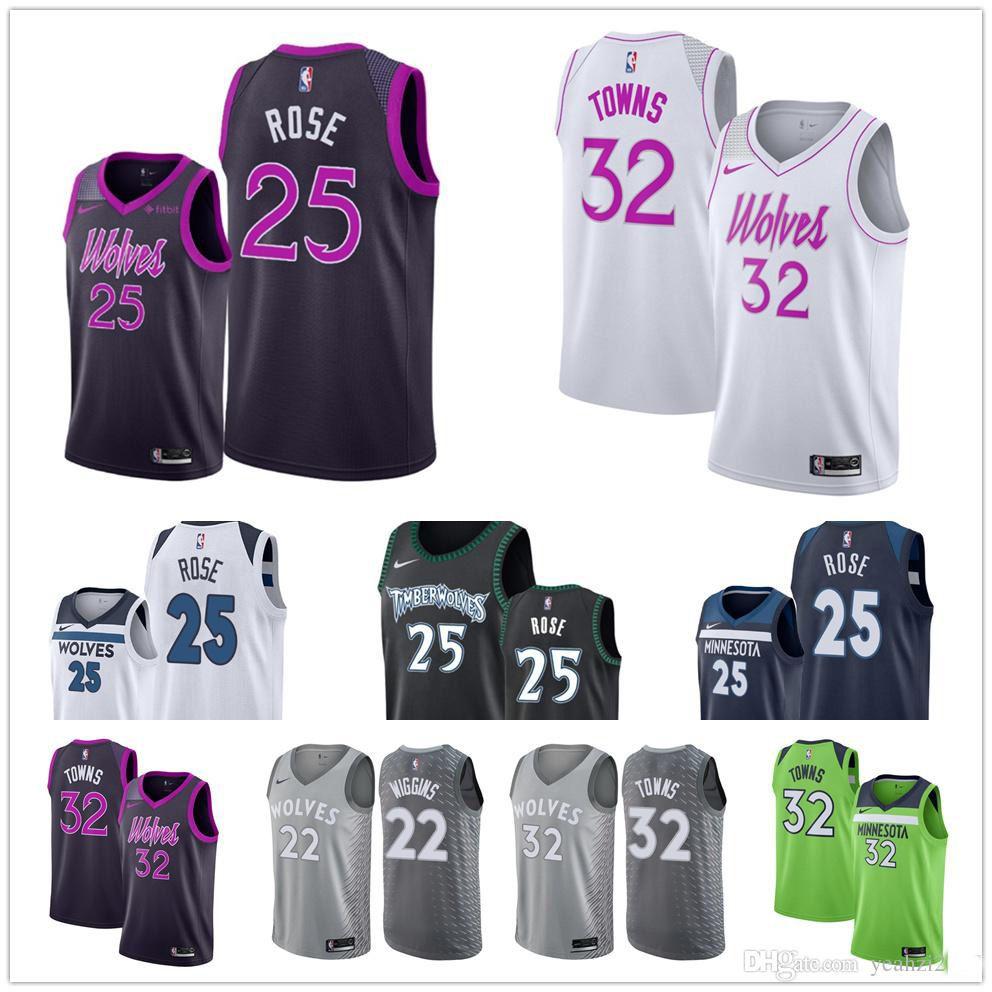 outlet store 10849 897aa Cheap 2019 Men's Minnesota #25 Derrick Rose Timberwolves jersey  Karl-Anthony Towns green purple Andrew Wiggins basketball jerseys