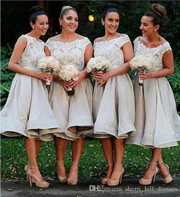 Custom Made Short Bridesmaid Dresses A-Line Illusion Bateau Neckline Romantic Lace Top Bridesmaids Gowns Under Knee Length DH268