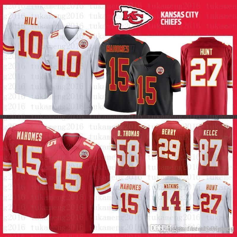 ce1fe89db 2019 10 Tyreek Hill 15 Patrick Mahomes II Kansas City Jersey Chiefs 58  Derrick Thomas 50 Justin Houston 72 Fisher Berry Watkins Hunt Kelce 27 14  From ...
