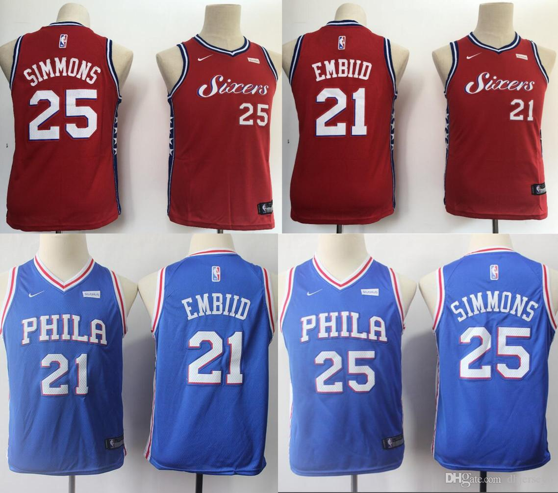 reputable site 807ab 2a911 Ben 25 Simmons Youth Kids 76ers Jerseys Philadelphia Jimmy 23 Butler Joel  21 Embiid Jersey 2019 new Top quality Size: S-XL