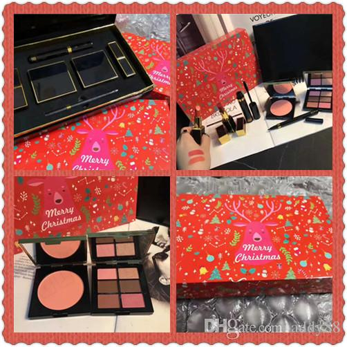 Hot Famous makeup set Merry Christmas Cosmetics Set Lipstick Eyeshadow Blush Mascara Eyeliner 6 In 1 Kit With A Red Box