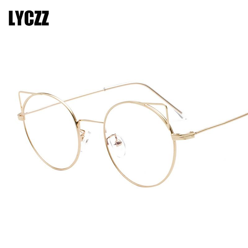 51094a076fcf 2019 LYCZZ Women Sexy Cute Eyeglasses Frame Cat Eye Clear Lens Ladies Girls  Spectacle Frames Round Fashion Prescription Eyewear From Marquesechriss, ...