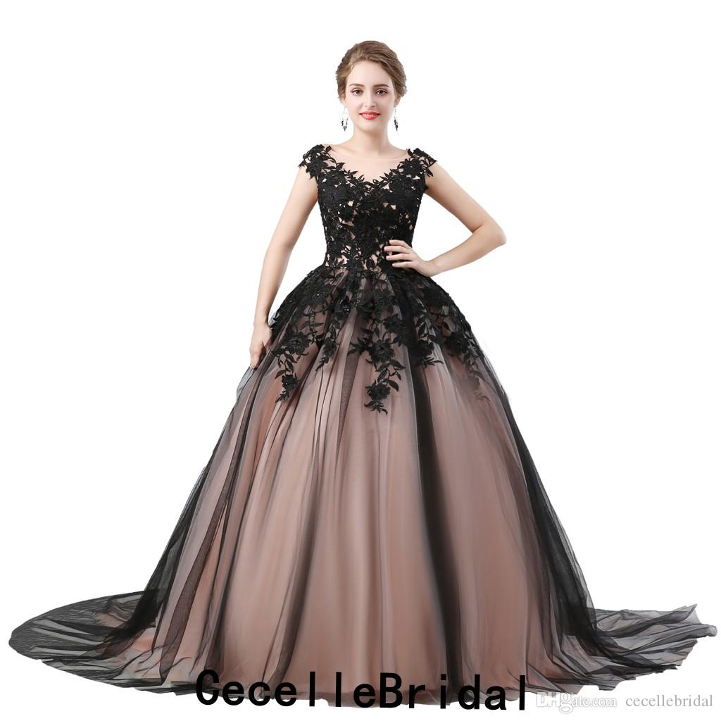 Discount Vintage Black Lace Gothic Wedding Dress 2019 Sleeveless Up Back Blushing Lining Ball Gown Non White Bridal Gowns With Color For Sale: Vintage Black Wedding Dress At Websimilar.org