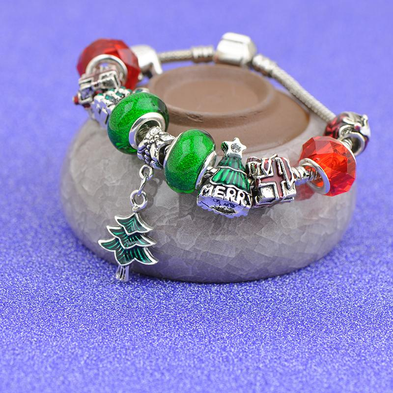 Christmas Tree Pendants Bracelets Fit Pandora Girl Red Green Crystal Glass Beads Bear Square Gift box Beaded Bangle Silver Jewelry Best4UU