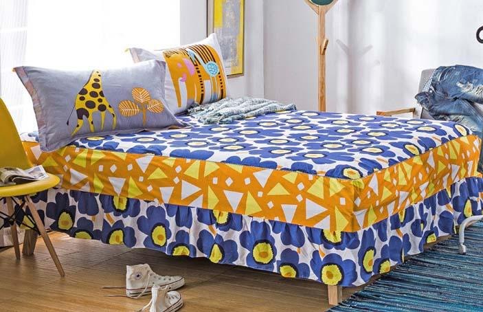 Blue Yellow Flowers Bed Skirt Mattress Cover Twin Full Queen King