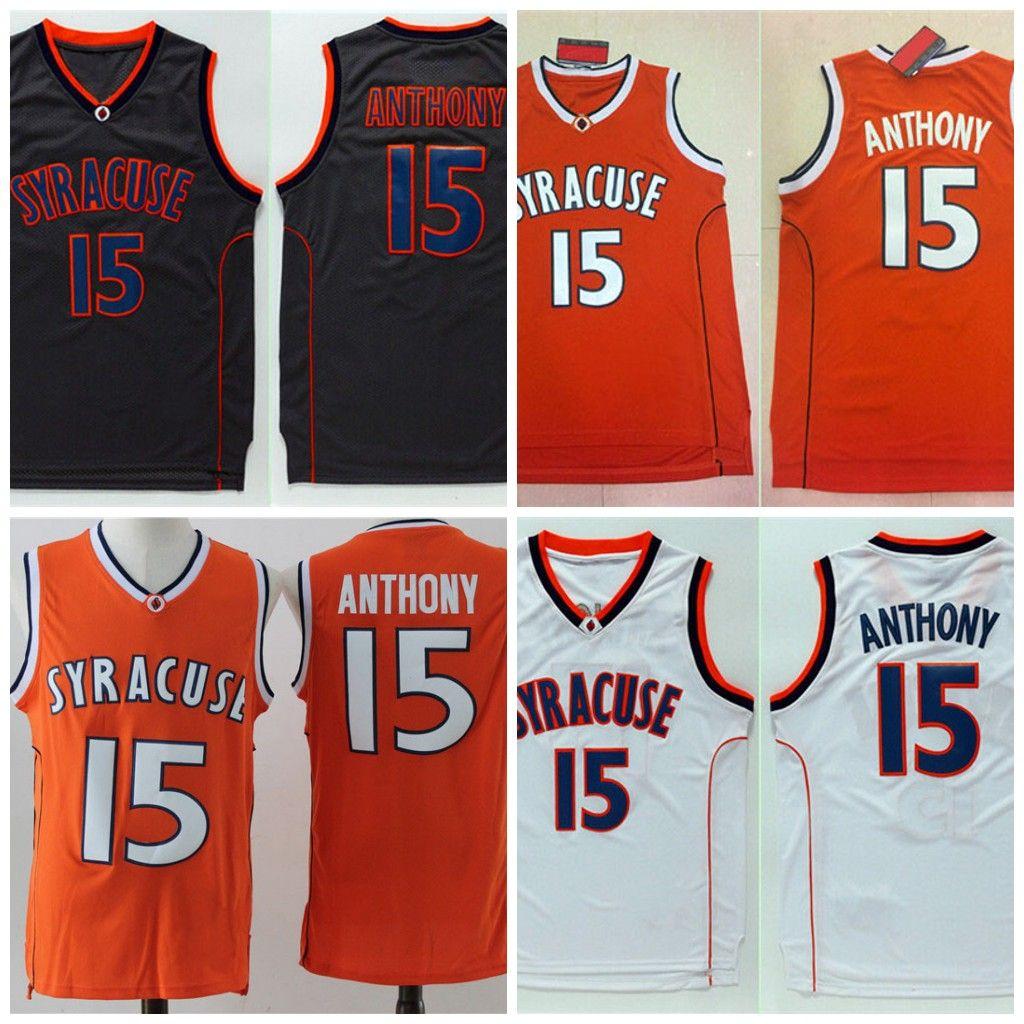 online retailer eda46 23d50 Mens Quality Syracuse College NCAA Jersey #15 Carmelo Anthony Orange Black  White Carmelo Anthony College Basketball Jerseys