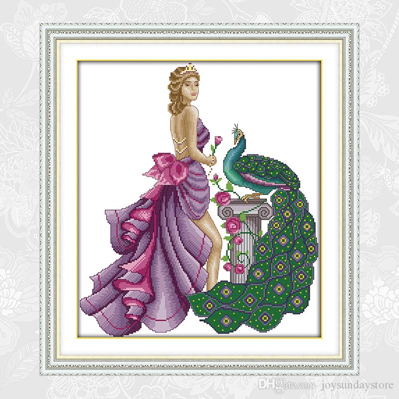 Needlework,14CT 11CT Counted Printed On Canvas Cross Stitch Schemes,Home Decoration Model and Peacock RA140 DIY Handmade Embroidery Crafts