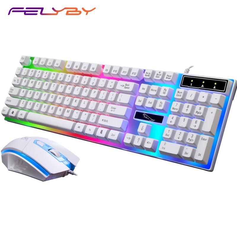 ffbd6f33c99 Großhandel FELYBY G21 Kabelgebundene USB Maus Und Tastatur Set Computer  Hintergrundbeleuchtung Mit Tastatur Und Maus Von Adamxx, $63.64 Auf  De.Dhgate.