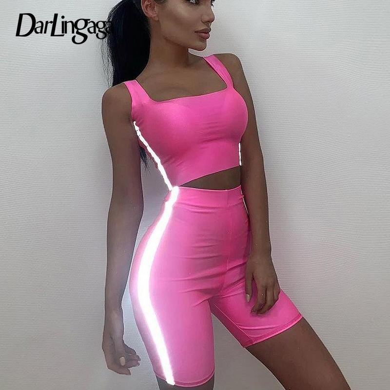 6acdd132ed39 2019 Darlingaga Casual Neon Green Two Piece Set Tracksuit For Women Side  Reflective Crop Top Bottom Summer Matching Sets Sportswear From Fraoe, ...