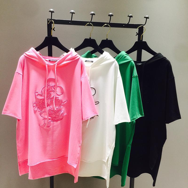 1a3b65e0 New Spring Women Embroidery Tshirt Loose Hoodies Medium Long Short ...