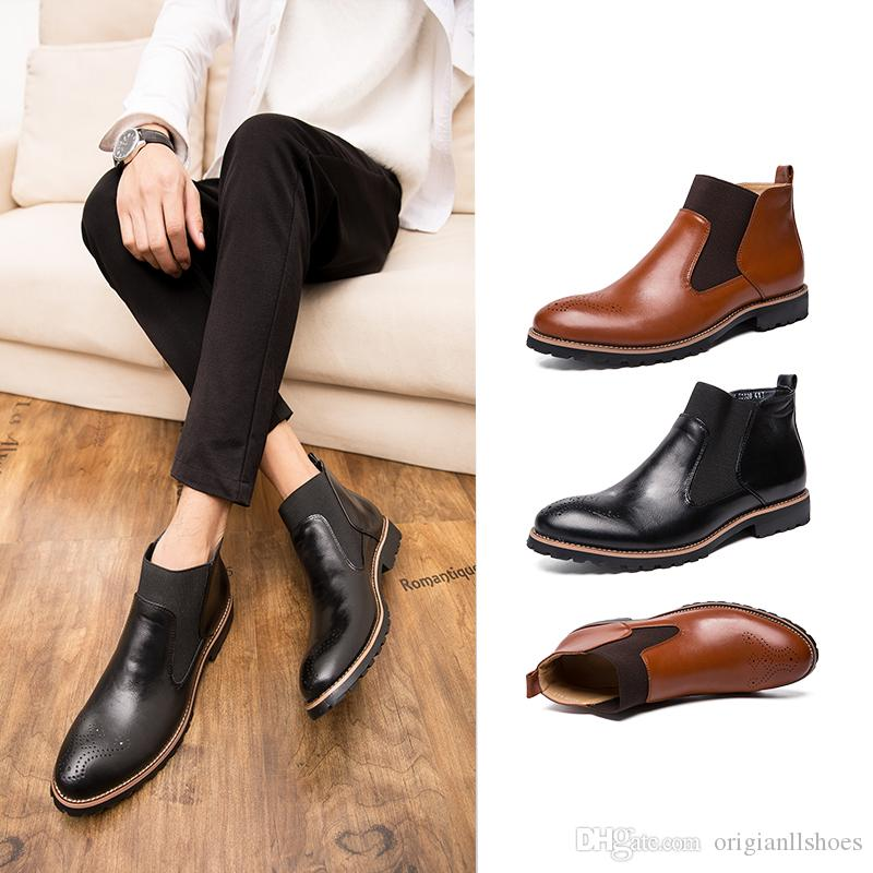 efc97621b Men Spring Fall PU Leather Slip On Ankle Booties Fashion Mens Leisure  Business Waterproof Motorcycle Boots Male Walking Shoes Size 39 46 Boot Ankle  Boots ...