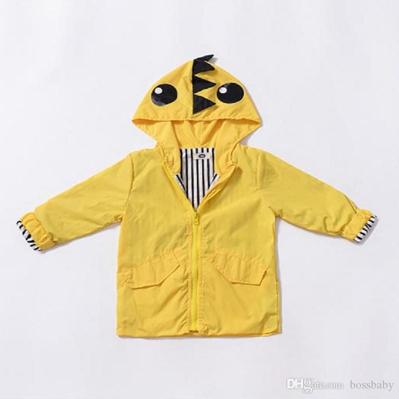 Kids Designer Brand Windbreaker Children Jacket Boy Dinosaur Windbreaker Long Sleeve Zipper Shirt Inner Stripe Solid Color 61