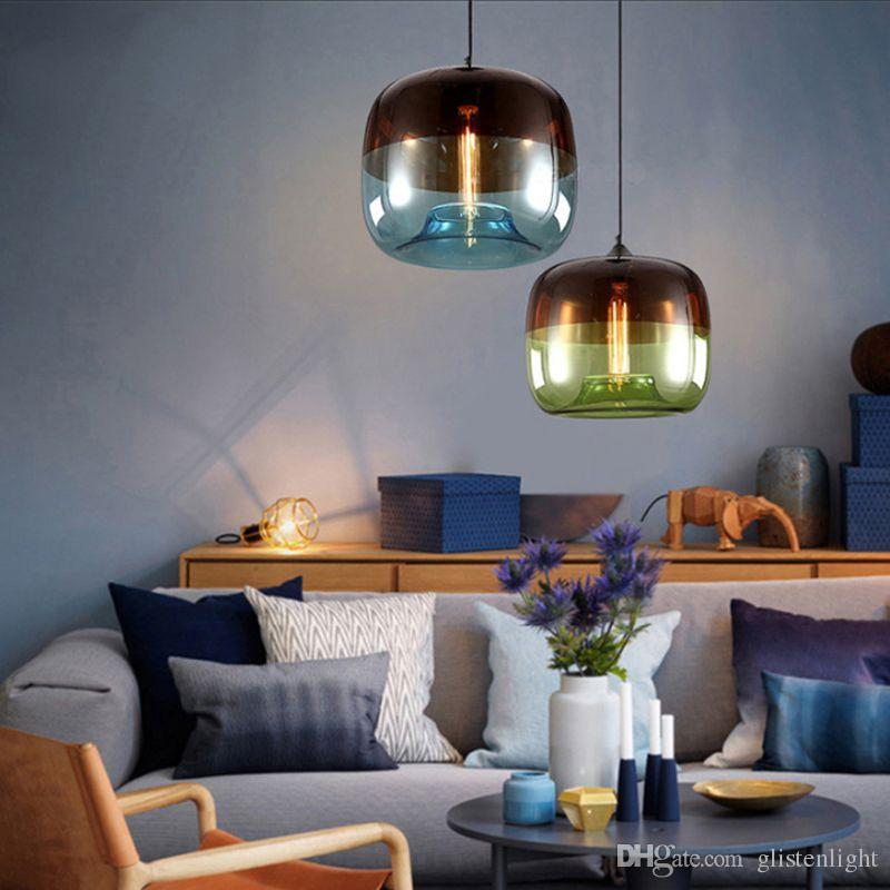 Moderne Nordic Art Deco Bunte Hängende Glaspendelleuchte Leuchten E27 LED  Für Küche Restaurant Wohnzimmer Schlafzimmer