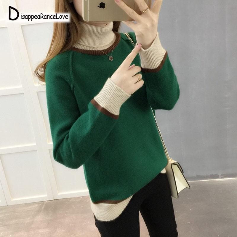 2019 Autumn Winter New Patchwork Pullovers Sweaters Women Elegant Knitted  Turtleneck Long Sleeve Sweater Female Knitwear Mujer Pullovers Cheap  Pullovers ... 8af315025