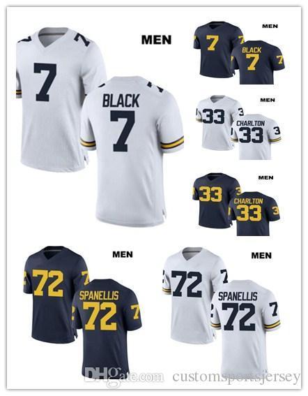 finest selection 6f3d9 b9568 Customized Jumpman Michigan Wolverines Jersey 72 Stephen Spanellis 33 Taco  Charlton 7 Tarik Black College Football Custom White Navy Jerseys
