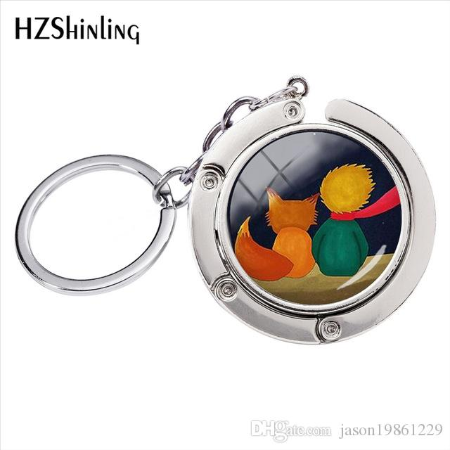 Little Prince Sign Crystal Glass Dome Bag Holder Key Rings Men's Ladies Fashion Jewelry Silver Alloy Round Key Chains