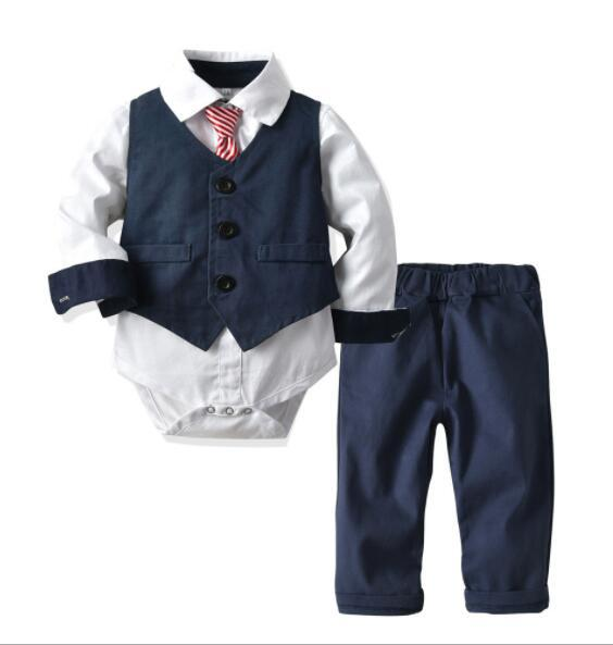 New Best-selling Boys'Dresses Suit Formal Children's Armor Collision Hat-shirt Belt Trousers British Wind Three-piece Suit Factory Direct