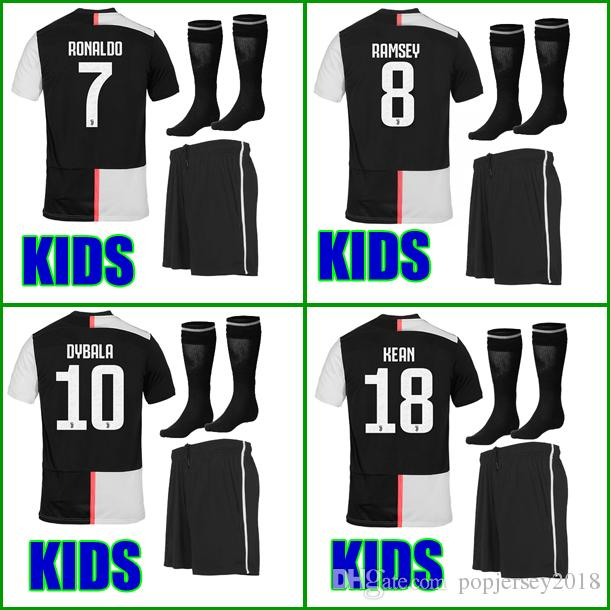the best attitude a131a fc321 Thailand 2019 2020 RONALDO Juventus kids Soccer jersey 18 19 20 DYBALA  MATUIDI KEAN boys youth children Football kit set uniform with socks