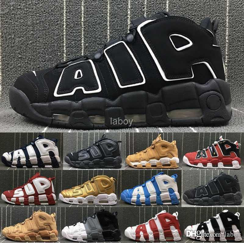 0525dec0c12293 2019 New More Uptempo 96 QS Olympic UNC Mens Basketball Shoes 3M Mens  Scottie Pippen Designer Luxury Brand Christmas Trainers Sneakers Athletic  Shoes Shoes ...