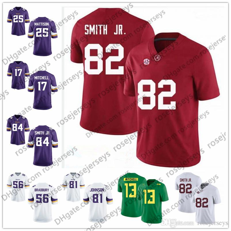 pretty nice 2af89 54457 2019 Alabama Irv Smith Jr. White 81 Olabisi Johnson Garrett Bradbury  Alexander Mattison Dillon Mitchell Browning Purple Rush Football Jersey