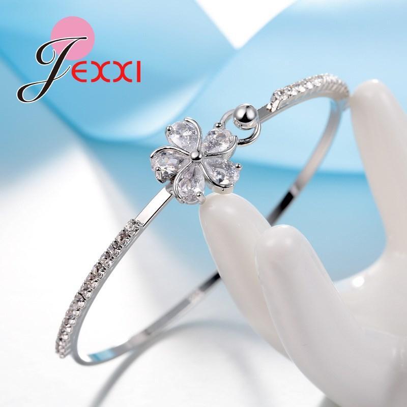 YAAMELI Pretty Gelin Düğün Takı Kadınlar / Kızlar Cubiz Zirkon Çiçek Bilezik 925 Ayar Gümüş Bilezik Nişan Dekorasyon