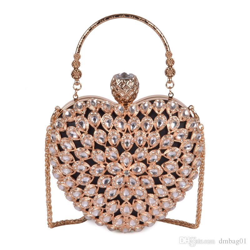 Pink sugao Women Evening Clutch Bag Gorgeous Pearl Crystal Beading Bridal Wedding Party Bags CrossBody Handbags love package Hand bag